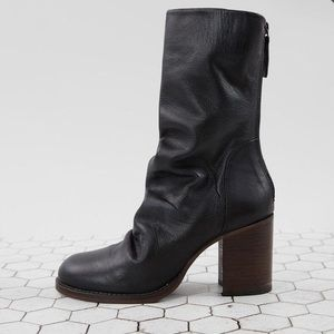 ⋆ Elle Leather Slouchy Block Heel Boot